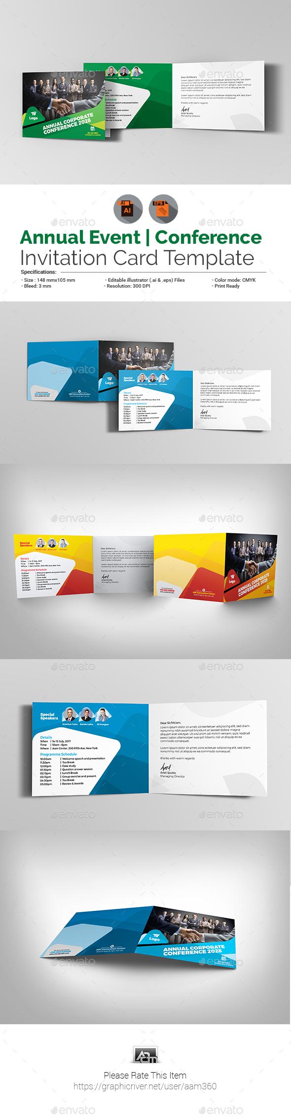 Annual Corporate Event/Conference Invitation Card - Cards & Invites Print Templates