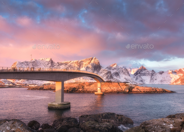 Beautiful bridge at sunrise in Lofoten, Norway - Stock Photo - Images