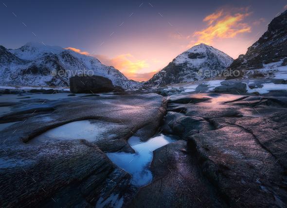Sunrise in Utakleiv beach, Lofoten, Norway - Stock Photo - Images