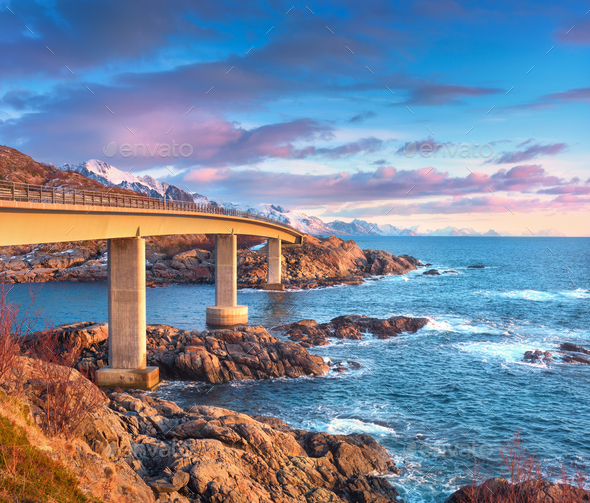 Beautiful bridge at sunrise in Lofoten, Norway - Stock Photo - Images
