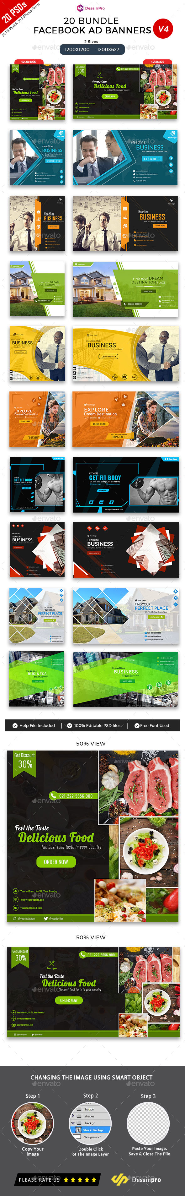 20 Facebook Ad Banners V4 Bundle - AR - Social Media Web Elements