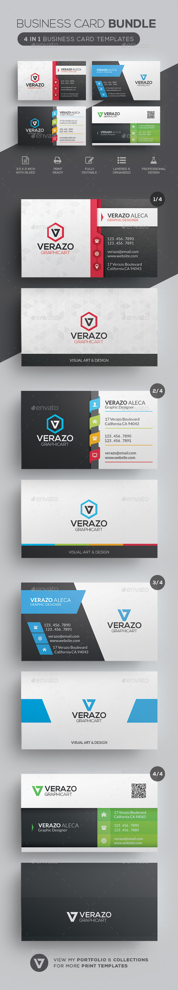 4 in 1 Bundle - Business Card - Corporate Business Cards