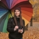 Young Beautiful Girl Going Alone in Autumn Park with Color Ambrella - VideoHive Item for Sale