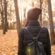 Young Beautiful Girl Going Alone in Autumn Park - VideoHive Item for Sale