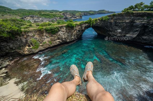 Young traveler at Broken Beach on Nusa Penida Island - Stock Photo - Images