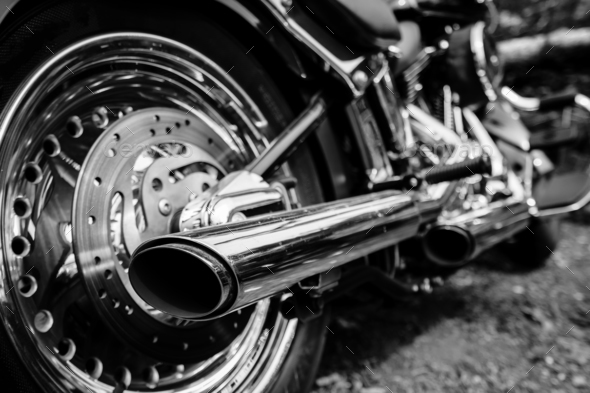 Rear view of motorcycle exhaust chrome pipes - Stock Photo - Images