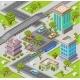 City Parking Lot Isometric 3D Vector Illustration