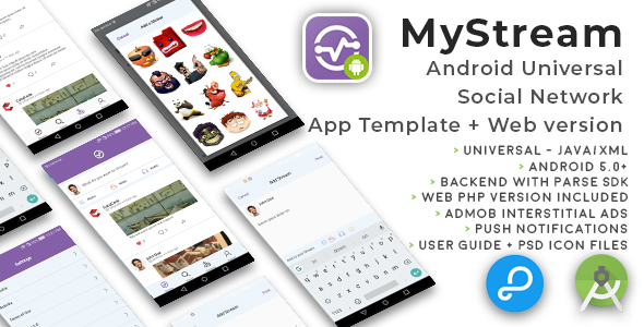 MyStream | Android Universal Social Network App Template + Web PHP version - CodeCanyon Item for Sale