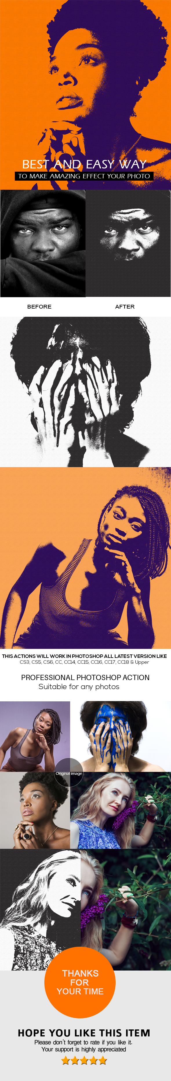 Duotone PoP Art Action - Phtotoshop Action - Photo Effects Actions