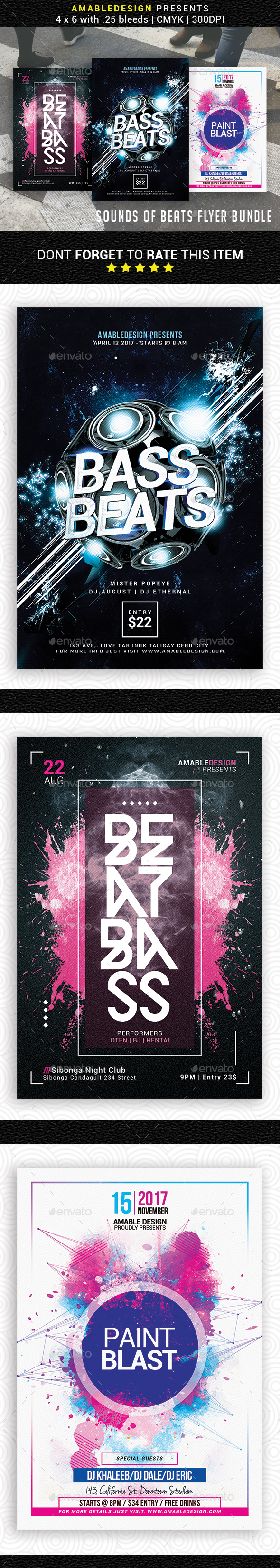 3 in 1 Sounds of Beats Flyer/Poster Bundle - Clubs & Parties Events