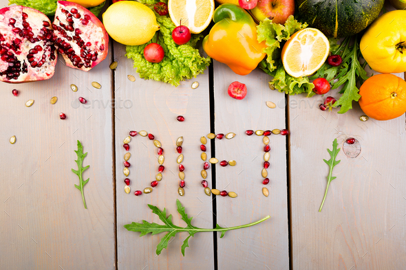 Word diet is made from fruite and vegetables. Healthy vegan diet raw food. - Stock Photo - Images