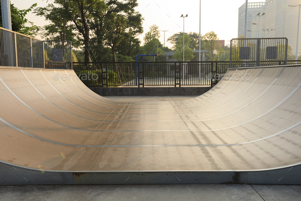 Half pipe in skatepark - Stock Photo - Images