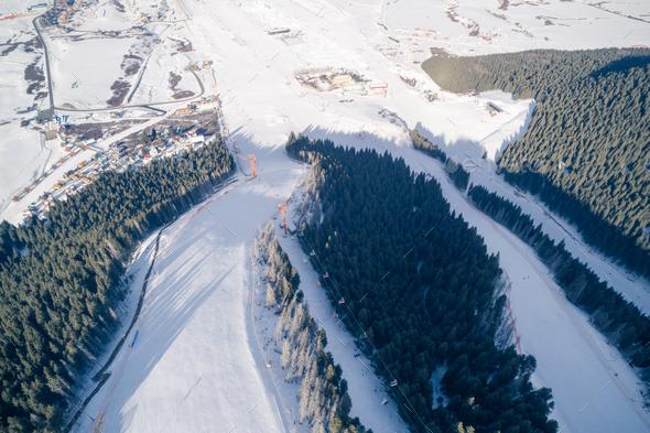 Ski pistes in alpine mountains - Stock Photo - Images