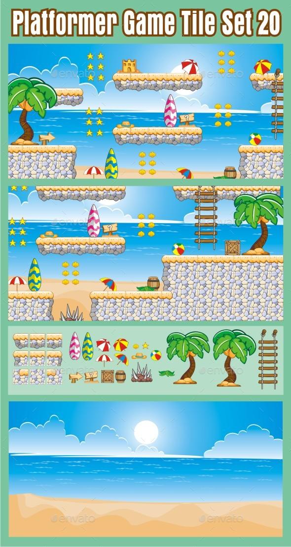 Platformer Game Tile Set 20 - Tilesets Game Assets