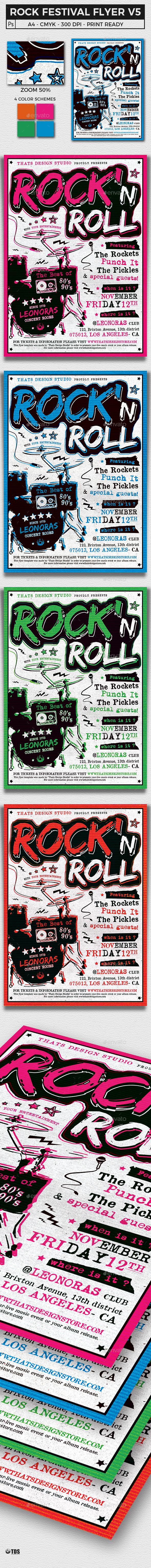 Rock Festival Flyer Template V5 - Concerts Events