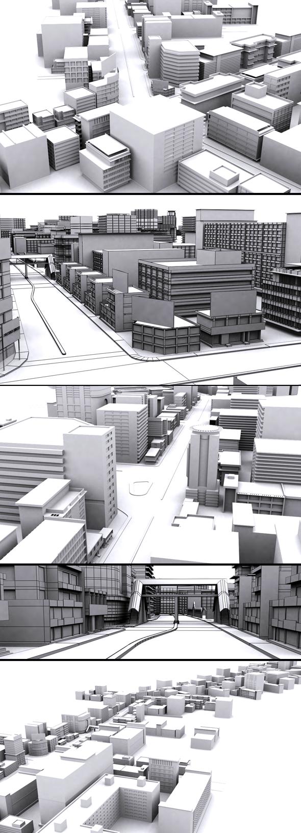 Movie City 3d Model - 3DOcean Item for Sale