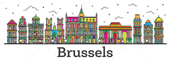 Outline Brussels Belgium City Skyline with Color Buildings Isolated on White. - Buildings Objects