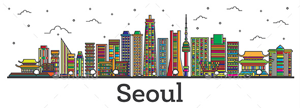 Outline Seoul South Korea City Skyline with Color Buildings Isolated on White. - Buildings Objects