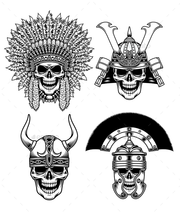 Set of Warrior Skull Characters - Miscellaneous Characters
