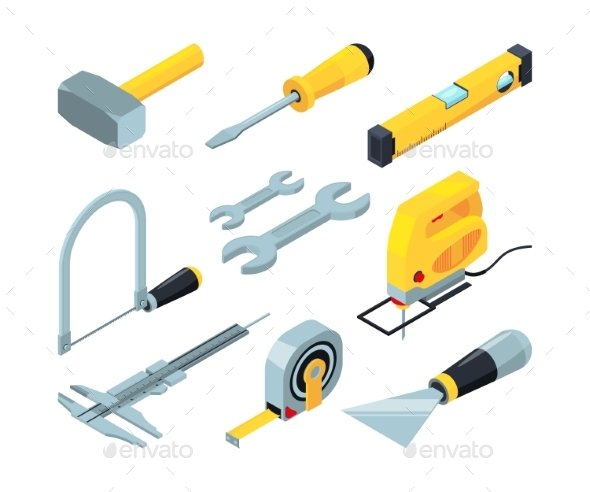 Electronic Tools for Construction Isometric - Man-made Objects Objects