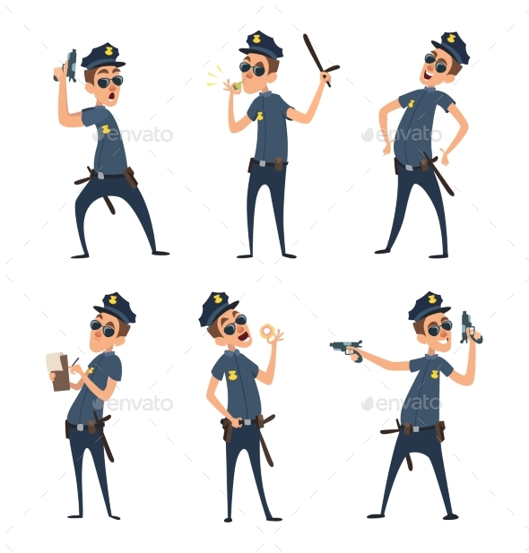 Policemen in Different Action Poses. Security Mens - People Characters