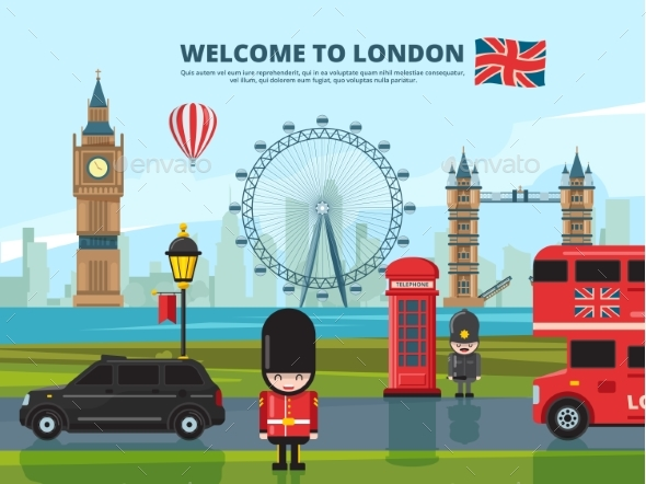 Background Vector Illustration with London Urban - Buildings Objects