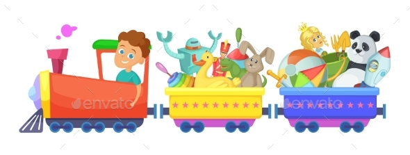 Childrens Toys in Train. Vector Cartoon - Objects Vectors