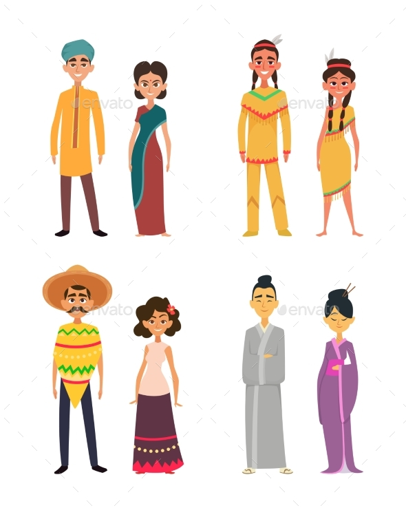 International Group of Peoples Male and Female - People Characters