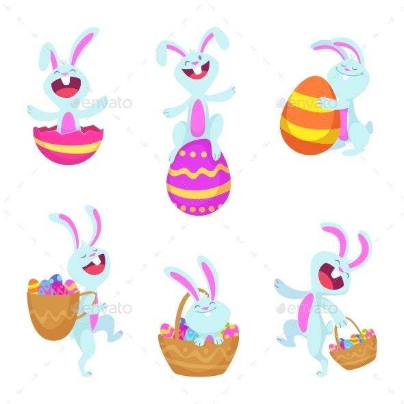 Set Characters of Easter Rabbits - Animals Characters