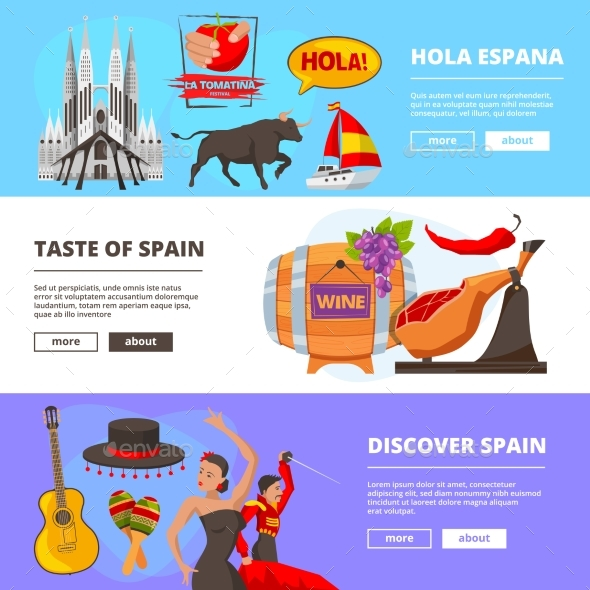 Horizontal Banners with Illustrations of Cultural - Miscellaneous Vectors