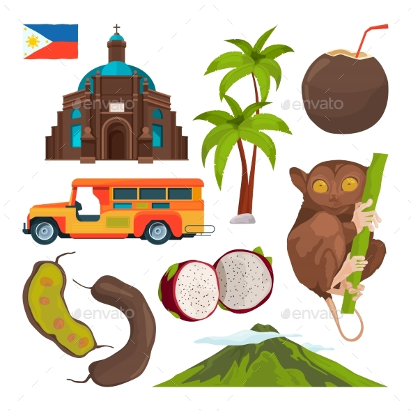 Vector Set of Colored Symbols of Philippines - Objects Vectors