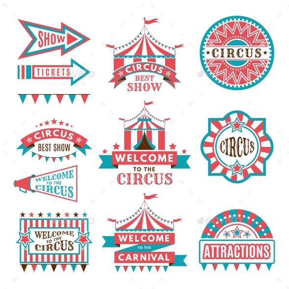 Labels in Retro Style - Decorative Symbols Decorative