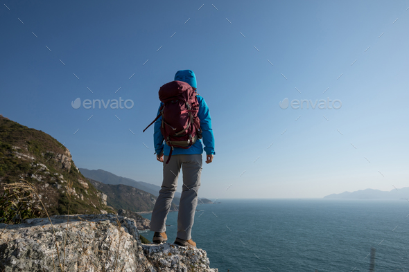 Hiking on seaside mountains - Stock Photo - Images