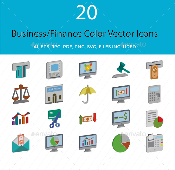 Business and Finance Isometric Style Vector Icons - Icons