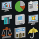 Business and Finance Isometric Style Vector Icons