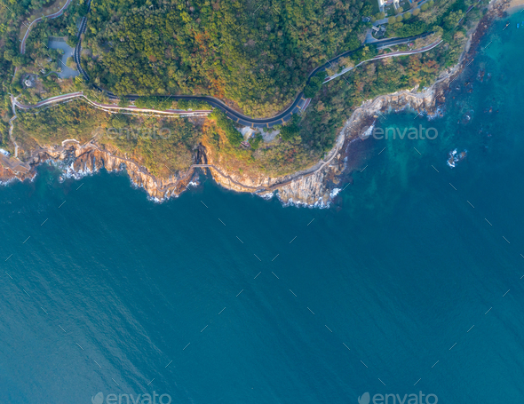 Aerial of coast and sea landscape - Stock Photo - Images