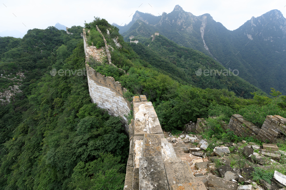 Unrestored chinese great wall in china - Stock Photo - Images
