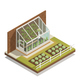 Lean-To Greenhouse Isometric Composition
