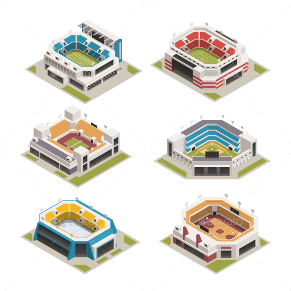 Stadion Sport Arena Isometric Set - Buildings Objects