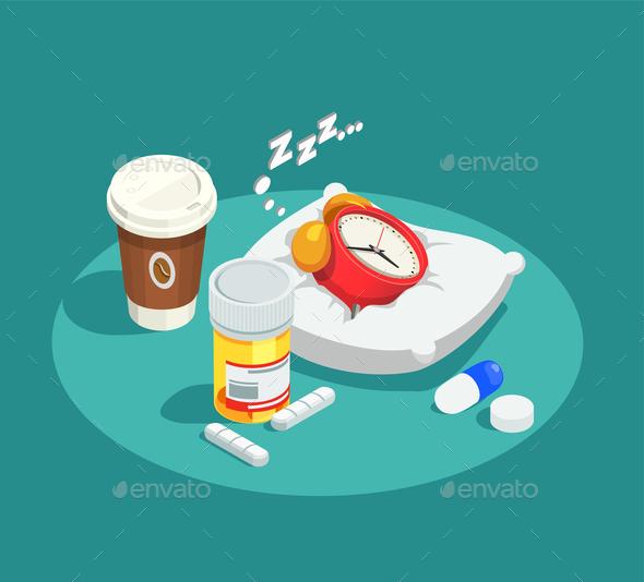 Hypnotics Drugs Isometric Composition - Health/Medicine Conceptual