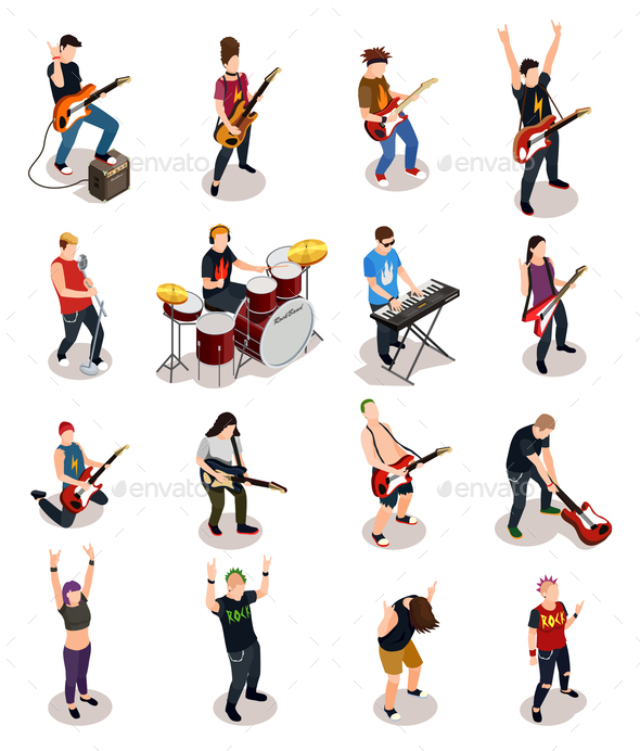 Rock Stars Isometric People - People Characters