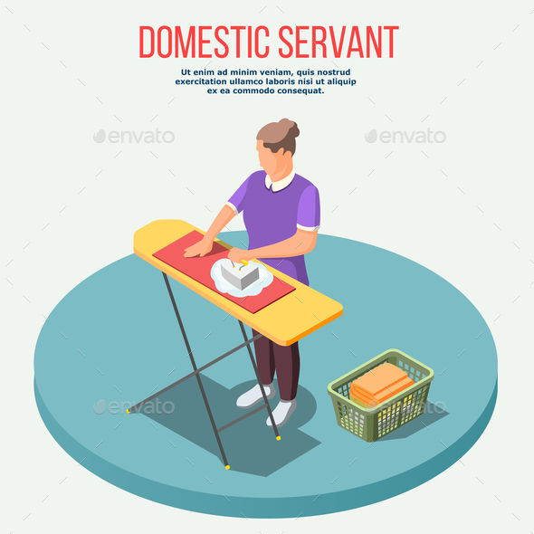 Housemaid Isometric Composition - People Characters