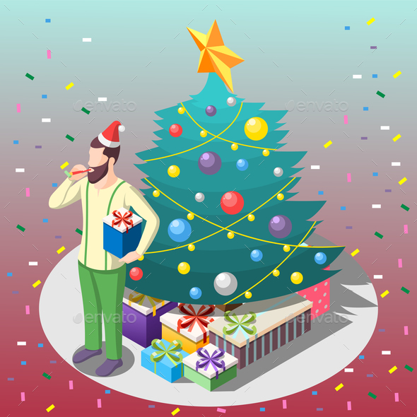 Man With Gifts Isometric Composition - People Characters