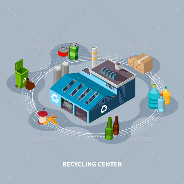 Recycling Centre Isometric Composition - Industries Business
