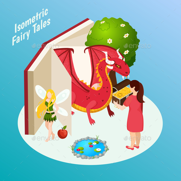 Fairy Tales Isometric Composition - Animals Characters
