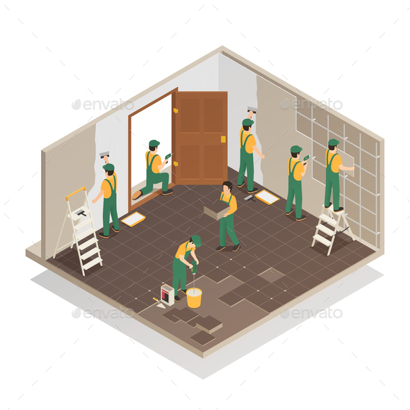 Home Renovation Isometric Composition - Services Commercial / Shopping