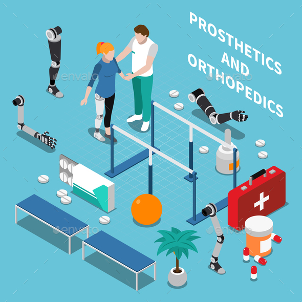 Prosthetics and Orthopedics Isometric Composition - Health/Medicine Conceptual