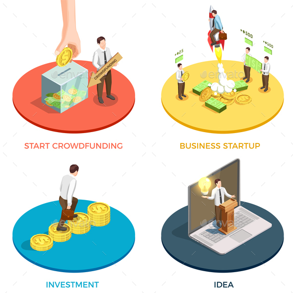Crowdfunding Concept Icons Set - Concepts Business