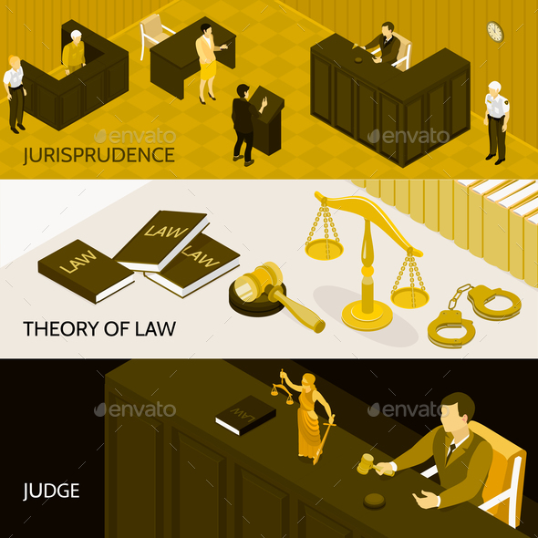 Law Isometric Banners Set - People Characters