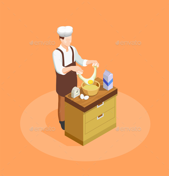 Confectionery and Bakery Chef Illustration - Food Objects